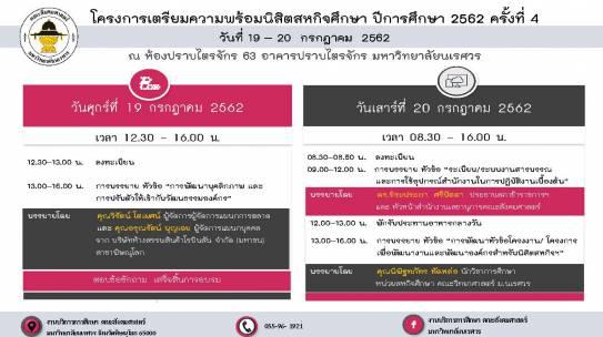 โครงการเตรียมความพร้อมนิสิตสหกิจศึกษา ปีการศึกษา 2562 ครั้งที่ 4 วันที่ 19 – 20 กรกฎาคม 2562
