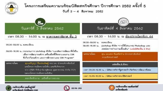 โครงการเตรียมความพร้อมนิสิตสหกิจศึกษา ปีการศึกษา 2562 ครั้งที่ 5
