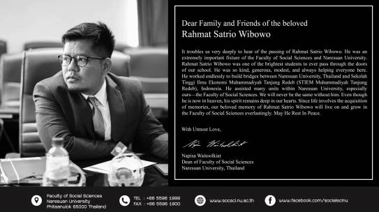 Dear Family and Friends of the beloved Rahmat Satrio Wibowo